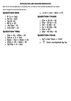 distributive law revision worksheet  aussie teaching