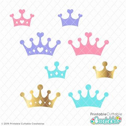 Svg Princess Prince Crowns Cricut Silhouette Heart