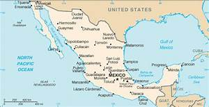 Map of Mexico. Terrain, area and outline maps of Mexico ...