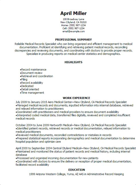 medical records specialist resume templates