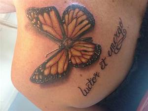 Realistic 3D Butterfly Tattoo Design On Collarbone for ...