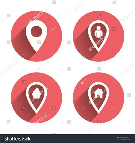 cuisine location map pointer icons home food user stock vector 324839171