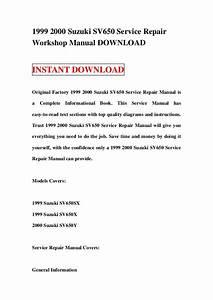 1999 2000 Suzuki Sv650 Service Repair Workshop Manual Download