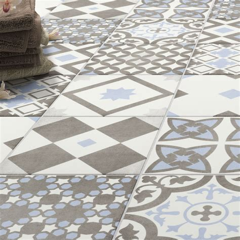 Wall Floor Tiles by Shop The Vibe Light Blue Patterned Wall And Floor Tiles