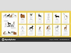 Monthly creative calendar 2018 with dog breeds Concept