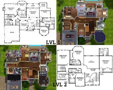 sims mansion floor plans  house blueprints