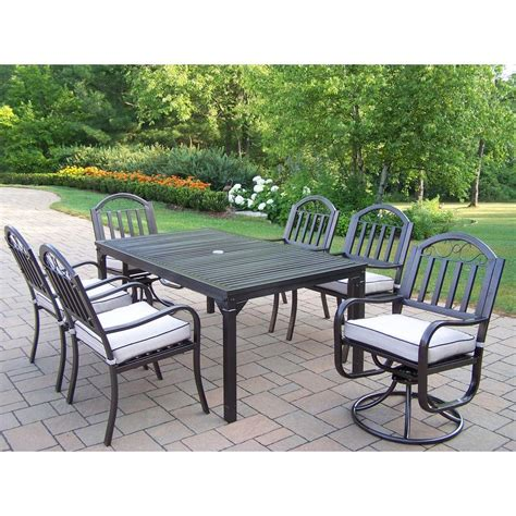 swivel patio dining set oakland living rochester 7 patio dining set with 2