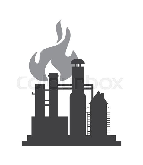 industrial pipe flat design refinery icon vector illustration stock