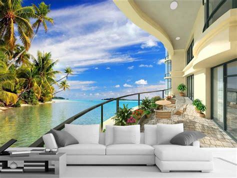 3d Room Wallpaper Landscape Balcony Beach Wallpaper 3d