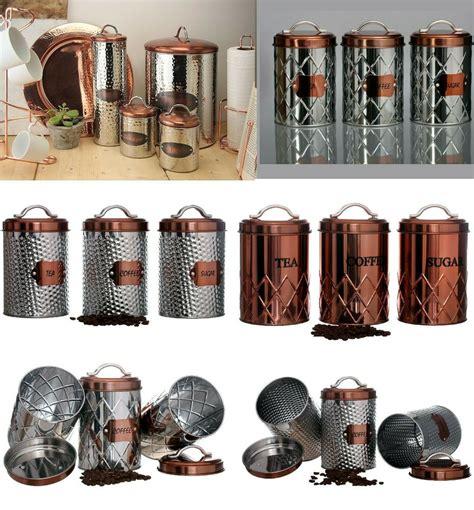 vintage copper tea coffee sugar pasta biscuits storage jars canisters bread bin ebay