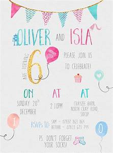 Kids 6th birthday party invitation for a joint boys and ...