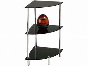 Etagere D Angle Noir : etag re 3 plateaux happy coloris noir vente de table basse conforama ~ Teatrodelosmanantiales.com Idées de Décoration