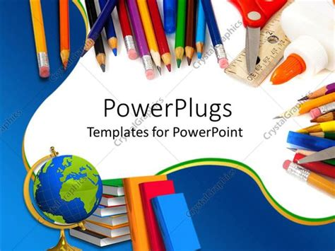 powerpoint template school supplies  pencils globe