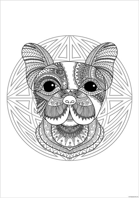 mandala  cute dog head  geometric patterns coloring page  coloring pages
