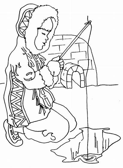 Eskimo Inuit Coloring Pages Clipart Clip Igloo