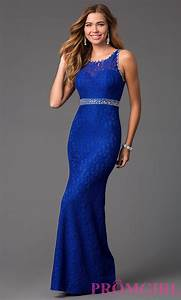Long Lace Royal Blue Prom Dress- PromGirl