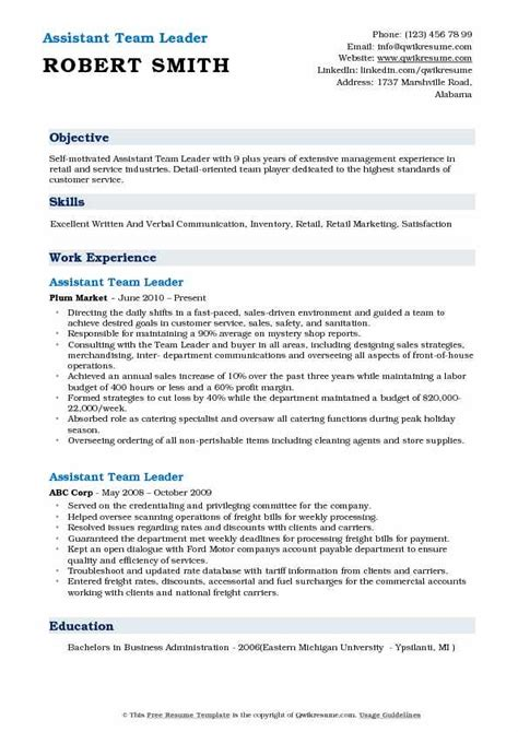 assistant team leader resume sles qwikresume