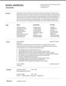 What To Put On A Resume For Retail Skills by Sales Assistant Cv Exle Shop Store Resume Retail Curriculum Vitae