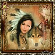 indianer frau mit wolf...