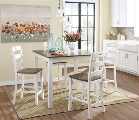 woodanville white  brown square counter height dining