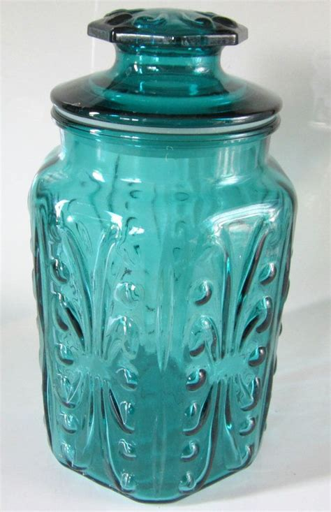 colored glass kitchen canisters blue green teal glass jar embossed canister lidded hexagon