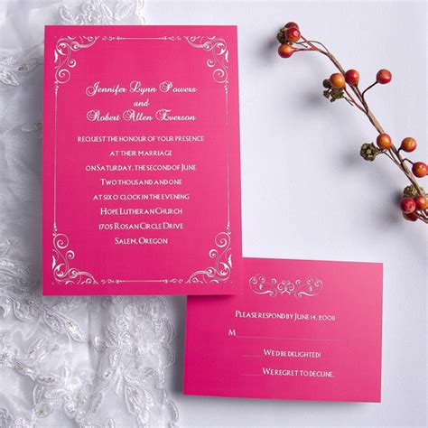 walima invitation hot pink wedding invitations with free response cards
