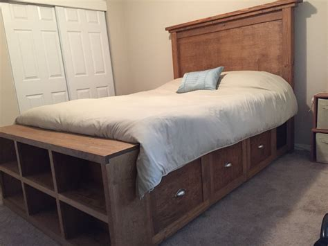 Diy Headboard Footboard by White Farmhouse Bed With Storage And Bookshelf