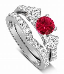 luxurious 2 carat ruby and diamond wedding ring set in 10k With ruby wedding ring set