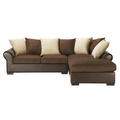 canape d angle marron canapé d 39 angle convertible 5 places en tissu marron