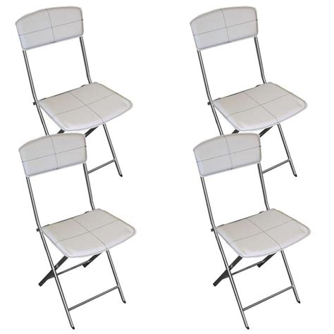 lot de 4 chaises pliables en simili cuir blanc