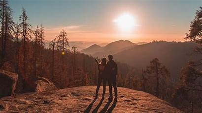 Couple Travel Mountains Sunset Park Sequoia National
