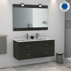 Meuble Double Vasque Salle De Bain : beau meuble salle de bain double vasque noir et fabriquer ~ Edinachiropracticcenter.com Idées de Décoration