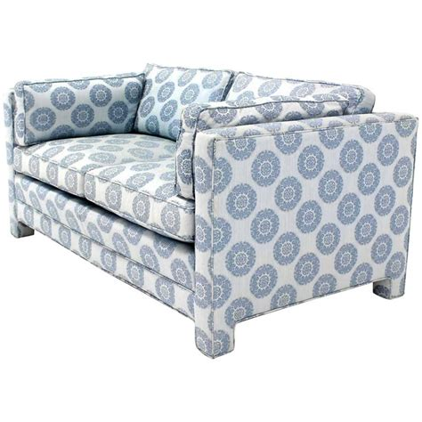 Henredon Settee by Blue Upholstery Mid Century Modern Loveseat Settee By