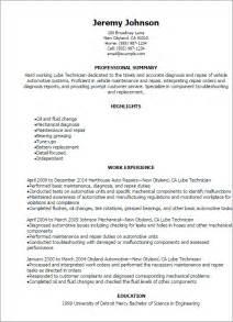 professional lube technician resume templates to showcase