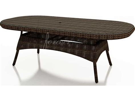 forever patio leona wicker 84 x 42 oval glass top dining