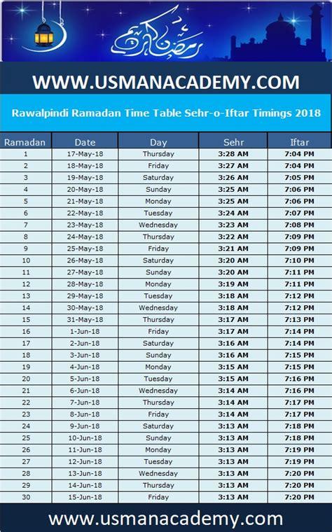 rawalpindi ramadan calendar  timing timetable