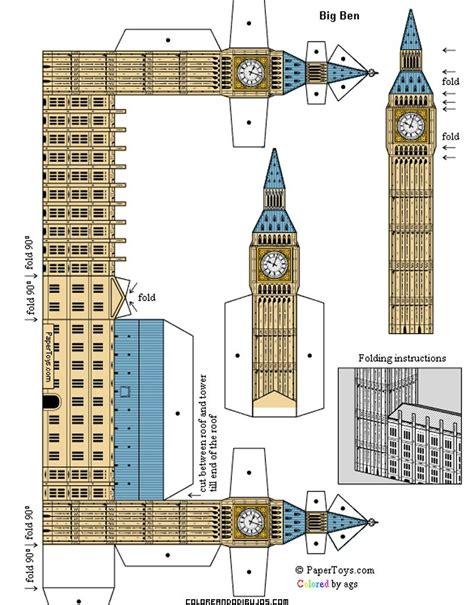 maqueta de big ben para recortar y armar edificios sobres de papel maquetas de papel y