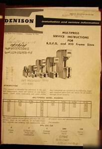 Denison Multipress Installation  U0026 Service Manual