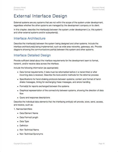 Interface Design Document Template by System Design Document Template Apple Iwork Pages