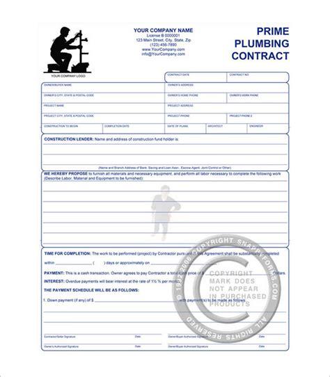 plumbing contract templates  word  format