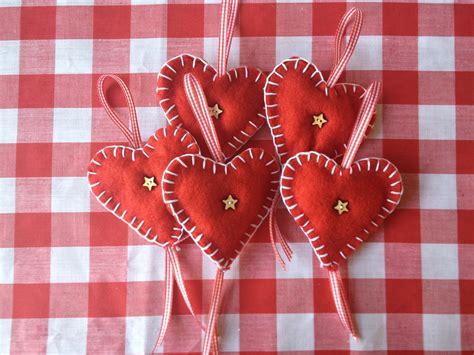 Red Felt Heart Christmas Decorations