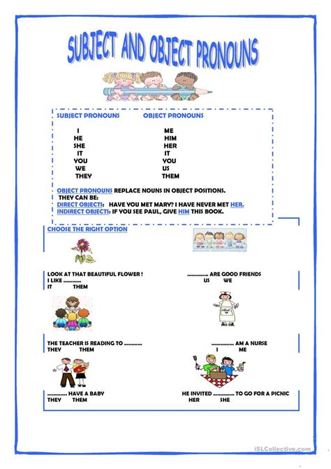 subject and object pronouns worksheet free esl printable