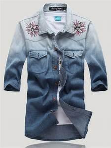 Retro Style Men Embroidery Flower Half Sleeve Denim Shirt