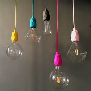 E faceted silicone pendant light fitting in yellow