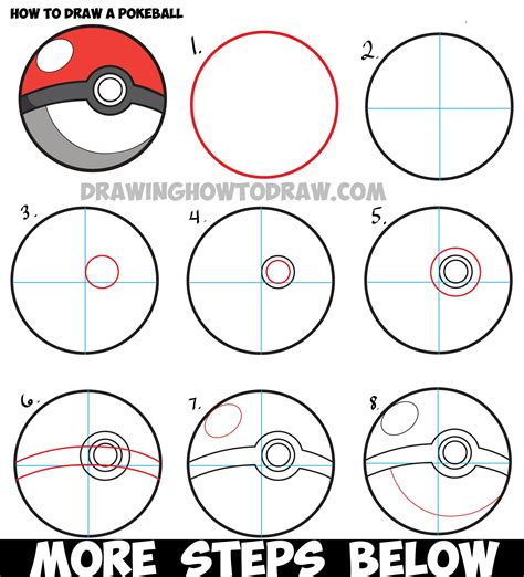 draw  pokeball  pokemon easy step  step