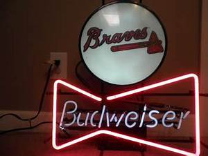 Budweiser Bowtie and Atlanta Braves sign cir 1992 Union