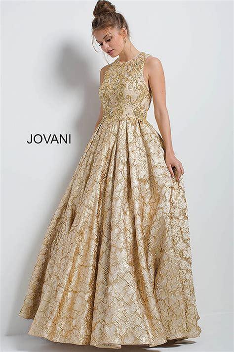 gold long brocade sleeveless embellished evening ballgown