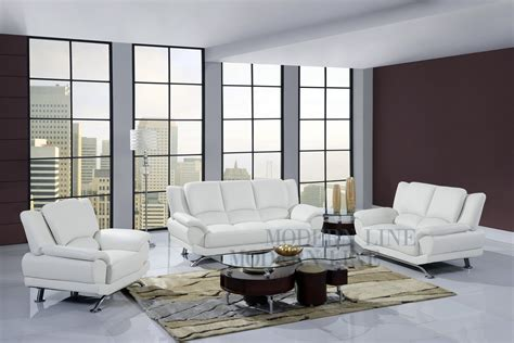 White Leather Living Room Furniture