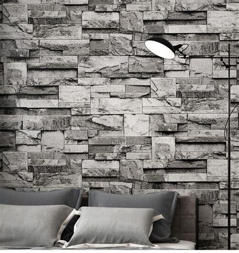 vintage stacked brick  stone wallpaper roll grey brick