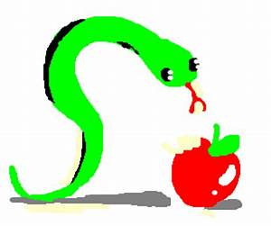 green snake eating a apple